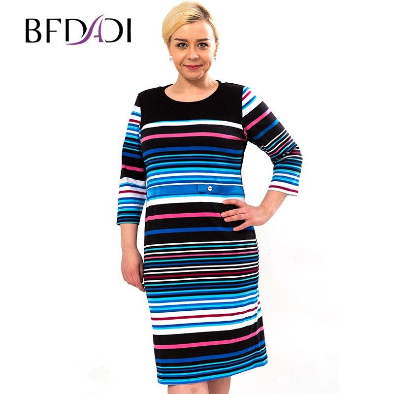 Bfdadi Vente Confortable Élégante 01 Chaude Femmes Couture Coton 02 Bande Couleur Robe Nouveauté Taille Plus De Robes 2016 La 3226 rrAwPdq