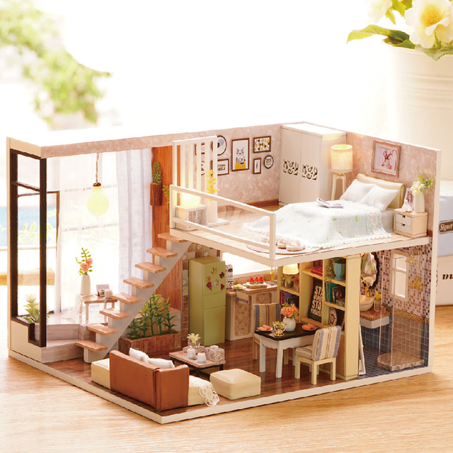 BRICOLAGE Maison De Poupée En Bois Poupée Maisons Miniature Dollhouse  Meubles Kit Jouets Pour Enfants Cadeau