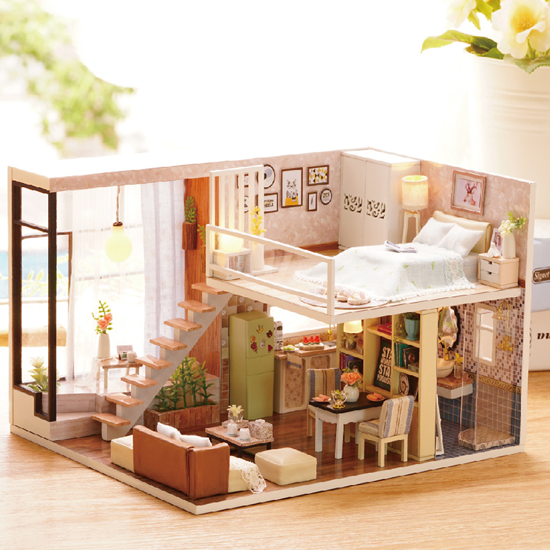 Diy Doll House Wooden Doll Houses Miniature Dollhouse Furniture Kit Toys For Children Christmas Gift L020 In Doll Houses From Toys Hobbies On