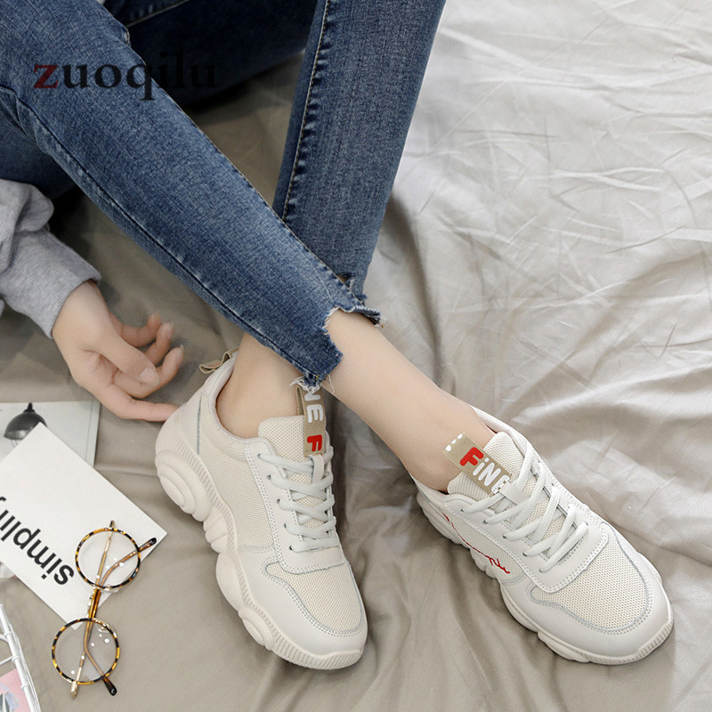 Women Casual Shoes 2019 Spring Mesh Platform Women Shoes Lace-Up Breathable Shoes Woman White Zapatillas Mujer 2