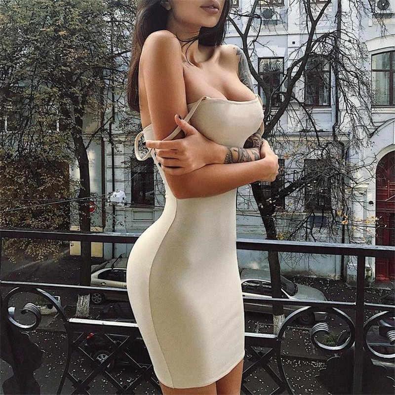 女性のセクシーなドレスボディコンノースリーブイブニングパーティークラブ固体ブルゴーニュショートミニ vestidos デ · verano に elbise 2019 新ホット夏
