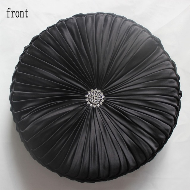 VEZO HOME Decorative Black Sofa Round Cushion Throw Pillows Seat Chair Home  Decoration Diameter 16inch Very