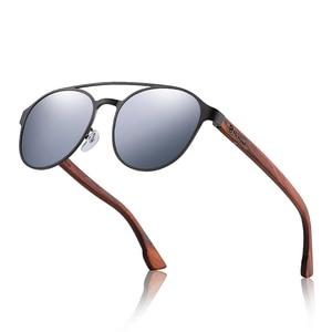 Image 4 - HU Ahşap Polarize Güneş Gözlüğü ahşap Bahar Menteşe Paslanmaz Çelik Çerçeve kadın güneş gözlüğü erkekler için Lens UV400 koruma GR8041
