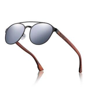 Image 4 - HU gafas de sol polarizadas para hombre y mujer, marco de acero inoxidable, con bisagra de resorte de madera, con protección UV400, GR8041