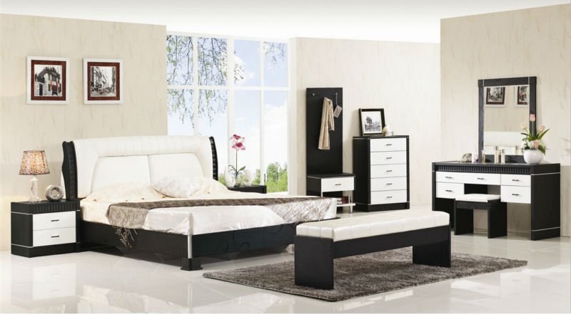 Luxury suite bedroom furniture of Europe type style including 1 bed 2 bedside table 1 chest a dresser and a makeup chair bedroom home furniture dresser table with 2 drawers mirror and stool neoclassical style kd packaged wooden carved materials