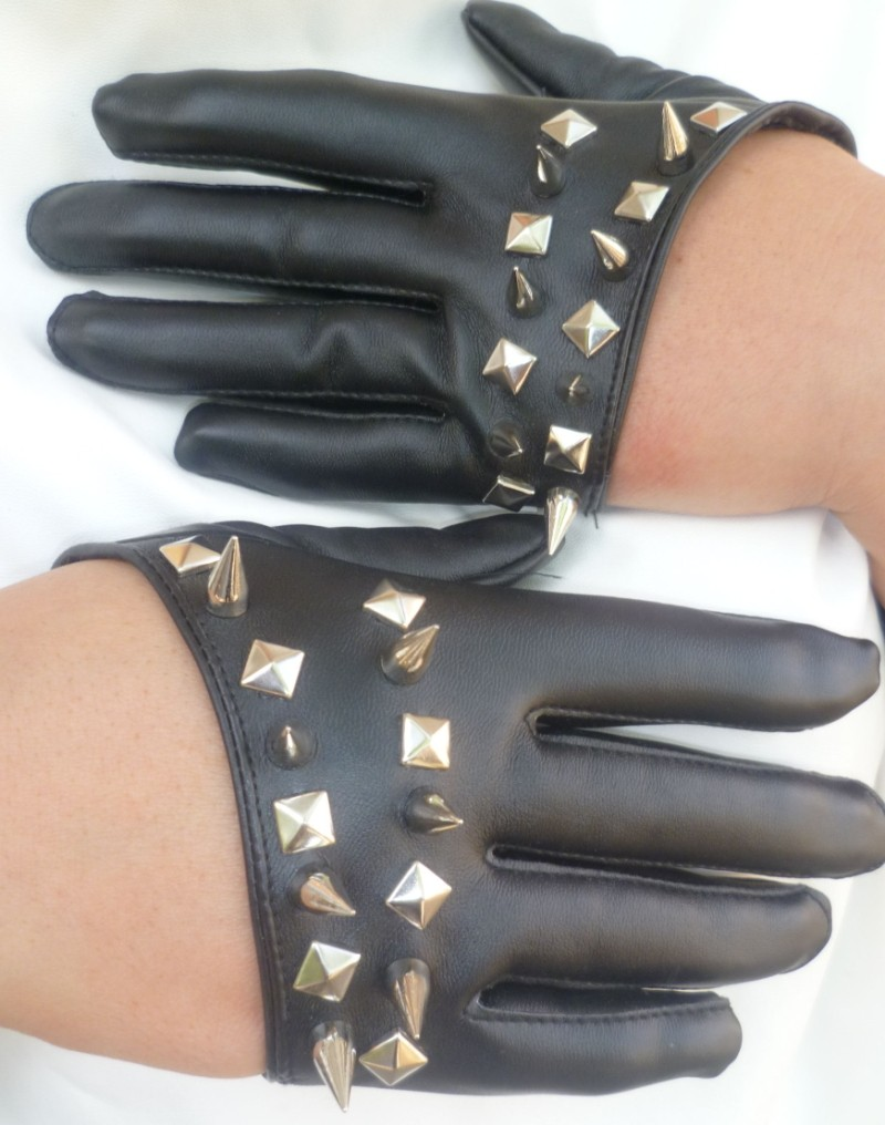 High quality womens leather gloves - Good Quality Women S Fashion Hip Hop Punk Rivet Half Finger Gloves Black Color Pu Leather Glove