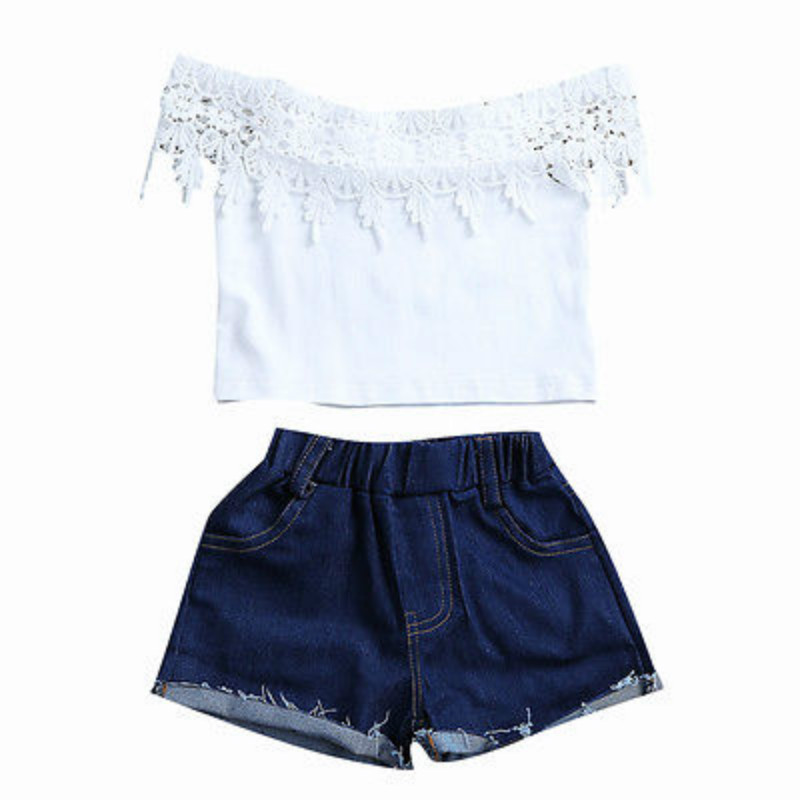 2Pcs Cute Toddler Infant Baby Girls Outfits Clothes Set Lace Floral Off Shoulder Cotton Crochet Blouse Tops Denim Shorts Pants 2pcs ruffles newborn baby clothes 2017 summer princess girls floral dress tops baby bloomers shorts bottom outfits sunsuit 0 24m