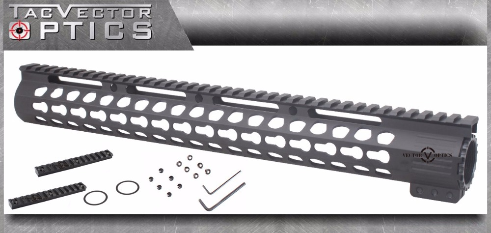 Vector Optics Ultra Slim KeyMod 15 Inch Free Float Handguard Rail Mount with Steel Barrel Nut fit AR15 M4 M16 2016 New Arrival