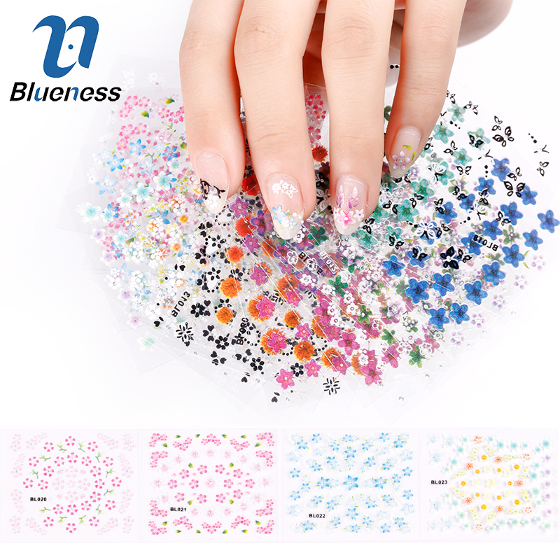 Blueness 30 Sheet/Lot Colorful Design Manicure Transfer Nail Art Tips Stickers Decals 3D Flowers Beauty Stickers For Nails JH177 наклейки для ногтей nail art stickers 30 3d oh11539