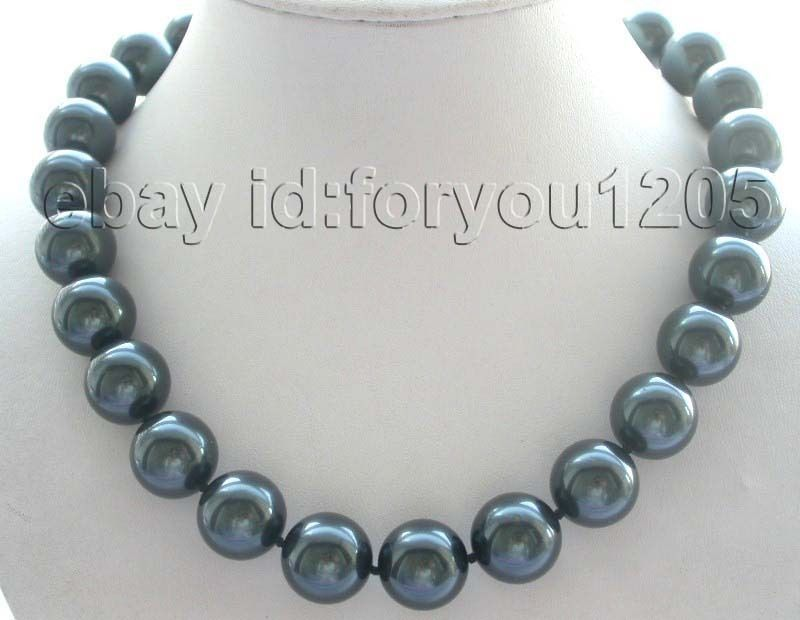 Natural 16mm Tahiti Black Round Shell Pearl Necklace style Fine Noble real Natural free shipping