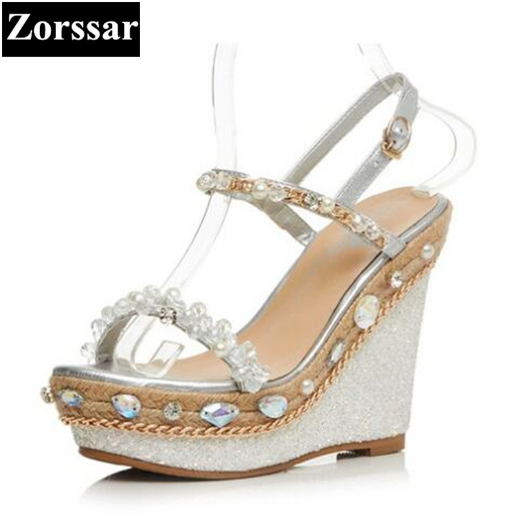 Summer shoes Women Platform wedges sandals open toe woman shoes 2017 Fashion Genuine leather rhinestone peep toe High heels