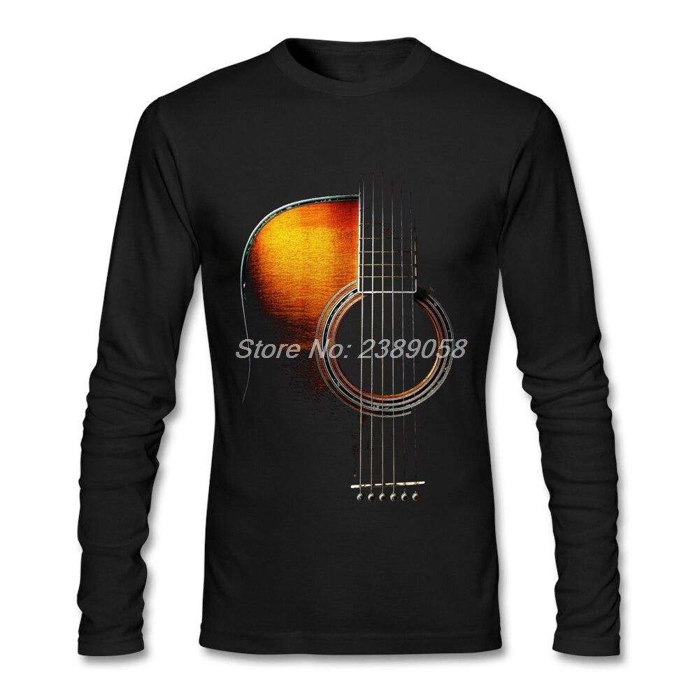 2017 Fashion Men T shirt Printing Acoustic Guitar Luxury Brand Music Clothing Camisetas Long Sleeve T-shirts Mens