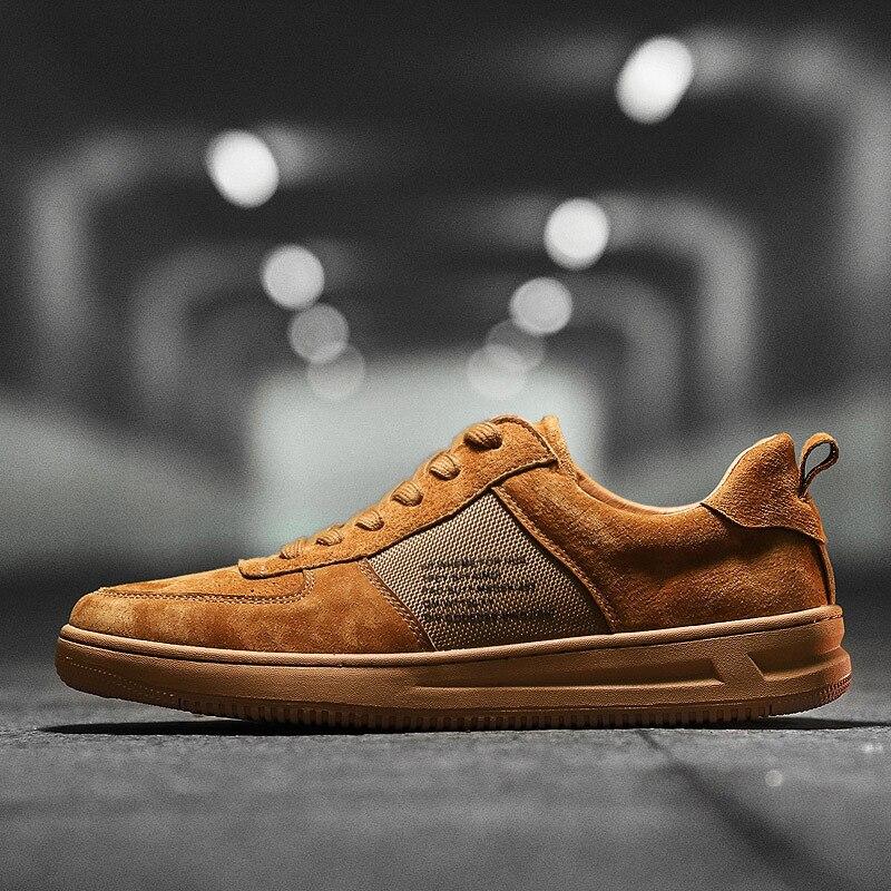Pour up kaki chocolat Garçons Chaussures Noir À Coudre Étudiants Dentelle Vulcaniser En D'été Solide Sneakers Casual Véritable Hommes Mode Rétro Plat Cuir 1RxwqP4I