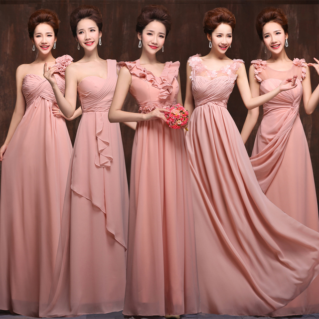 2016 Hot Peach Pink Bridesmaid Dress Floor Length Chiffon High Quality 5  Mixed Styles Bridesmaid Gowns Vestidos Longos Para Casa bbc92bd5e276