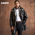 Sani Autumn And Winter Leather leather fur coat Male Men's suit collar sheep fur overcoat free shipping