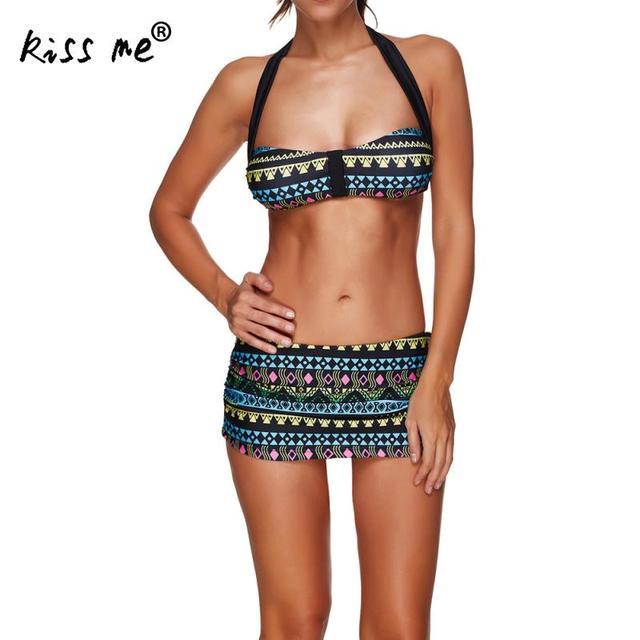 7bfc3e5e71 Women's Swimsuit Swimwear Lady Sexy Printed Geometric Padded Bra Beachwear  Bandage Bikini Set Brazilian Biquinis Maillot De Bain