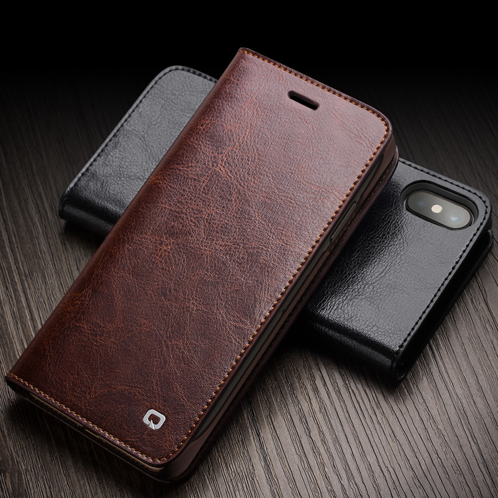 QIALINO Luxury Case for iPhone X XR Genuine Leather Flip Wallet Cover for Apple iPhone XS