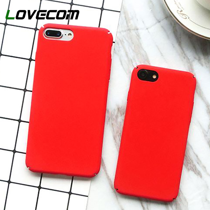 LOVECOM Case For iPhone 5 5S SE 6 6S 7 8 pLUS X Fashion Solid Color Lucky Red Full Coverage Hard PC Phone Cases Hot Capa Fundas