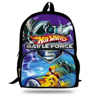 Hot sale travel bag children school bags 3D Cartoon Hot Wheel Battle Force 5 print backpack for teenager boys kids mochila