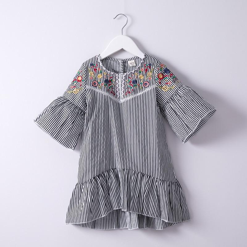 Summer-Hurave-Colorful-Flower-Embroidery-crew-neck-Dress-Children-lantern-Sleeve-Dress-Kids-causal-Baby-Girls