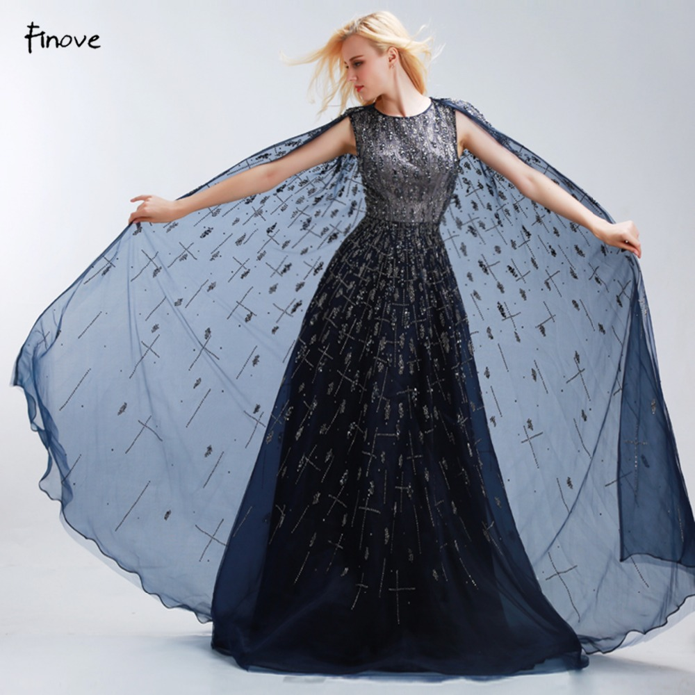 ce2c691bd30 Finove темно-синий длинный Вечерние платья высокое качество Элегантные с  О-образным вырезом без рукавов Иллюзия See Through бисером-line Пром платье