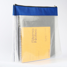 Dumei zipper document file data bag large capacity transparent grid widened waterproof student papers collection NF
