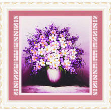 3 Colors 3D Embroidery Ribbon Cross Stitch Needlework Kits Flower Printed Wall Art Painting Sets Sewing Kraft Decor C-0256(China)