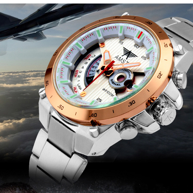 Watches Men Luxury Brand AMST Stainless Steel Fashion Quartz Watch Dive 30M Sports Military Digital Wristwatch Relogio Masculino favourite 1602 1f