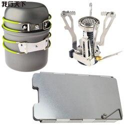 Outdoor Camping Euipment Gas Stove Cooking Pot Set  Picnic Cookware EDC Tool Pan +  Canister Stove + Aluminum Wind Deflector