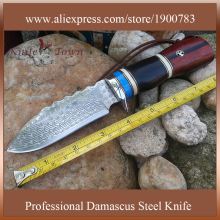 DT011  high quality damascus knife camping knife hunting knife sandal wood handle us army knife