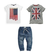 Fashion Summer Kids Boys Clothing Set 100 Cotton Short Sleeve British And American Flag T Shirt