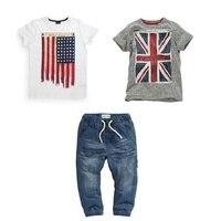Moda Yaz Çocuk Boys Giyim Seti % 100% Pamuk Kısa Kollu İngiliz Ve Amerikan Bayrağı T-Shirt Ve Kot Boys Giyim Suits