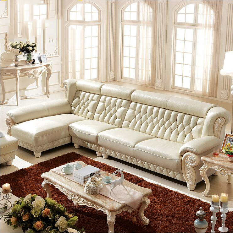 high quality  European living room Genuine leather sofa p10107