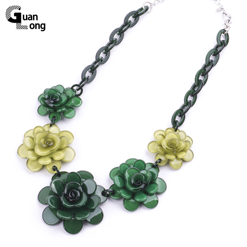 2017 Spring New Collection Fashion Resin Flower Necklaces Pendants For Young Girl Gift Jewelry 7 Colors