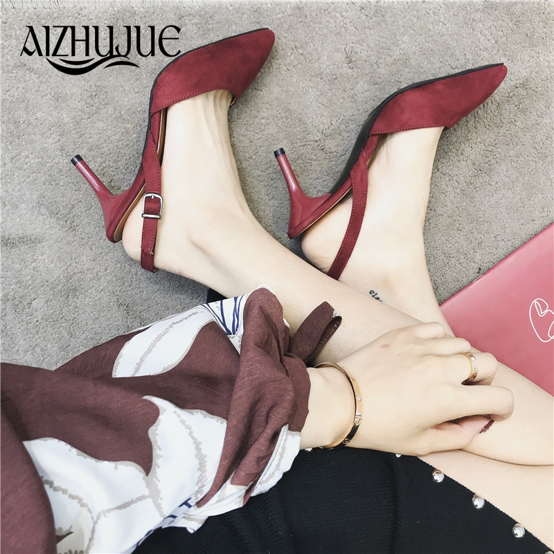 AIZHUJUE 2018 Women Pumps Ankle Strap Thin Heel Sexy Women Party Shoes Work Pumps Comfortable Ladies Shoes Heels High Sandals famiao 2018 women pumps ankle strap thick heel women shoes square toe mid heels dress work pumps comfortable ladies shoes
