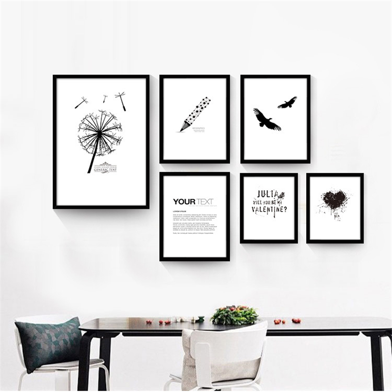 No frame simple pen bird letter print nordic poster canvas for Creative mural art