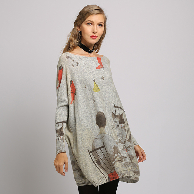 XIKOI  sweater dress Fashion Casual Home cat cartoon Print Oversize Long Batwing Sleeve Pullovers O-Neck Knitted Clothes