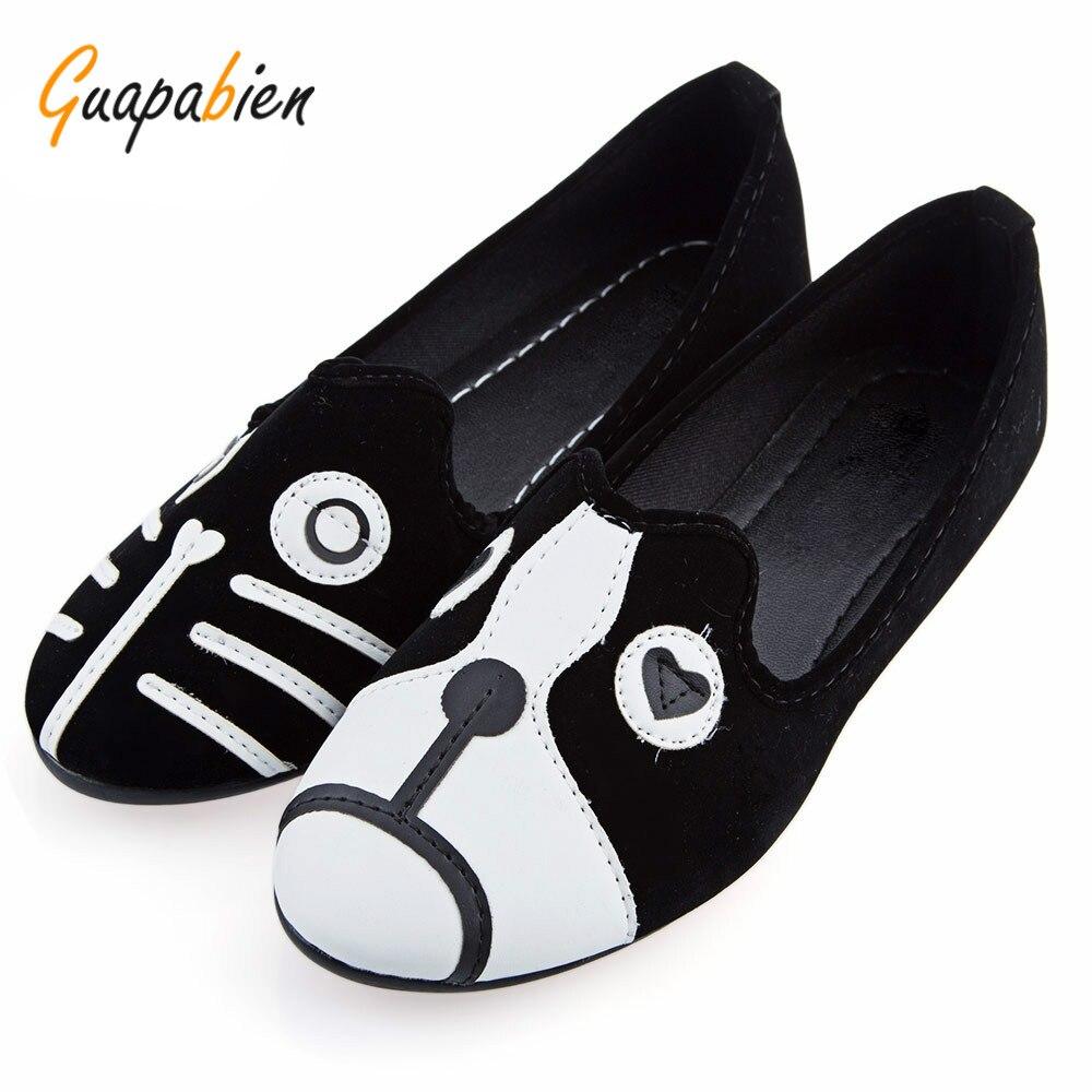 Guapabien Mujeres Zapatos de Marca Perro Gato Zapatos Zapatos Planos de Las Muje