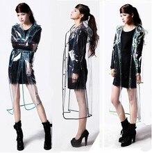 2016 HOT sale Womens Girls Fashion Transparent Vinyl Long Raincoat Runway Style Rain Coat High Quality women Raincoat For a Gift
