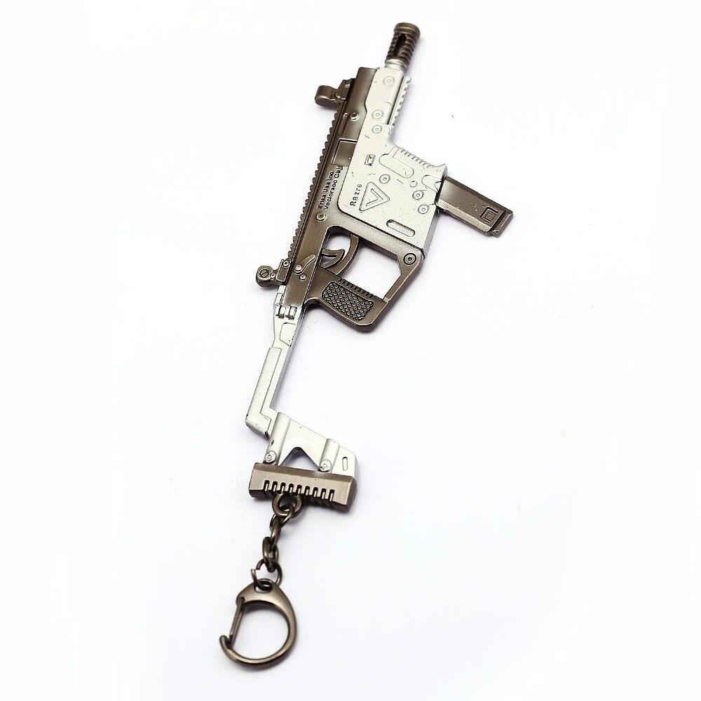 Game CF Chicken Jedi Survival Metal Gun Model Key Chain Submachine Novelty Strike Gun Charms Length About 15cm