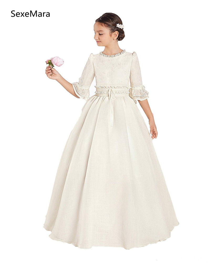 Princess Vintage   Girls   First Communion   Dresses     Girl   Pageant Party Gown Floor Length   Flower     Girls     Dress   Kids Cloth Custom Size