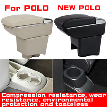 купить Leather Car Armrest  For VOLKSWAGEN POLO NEW polo Centre Console Storage Box онлайн
