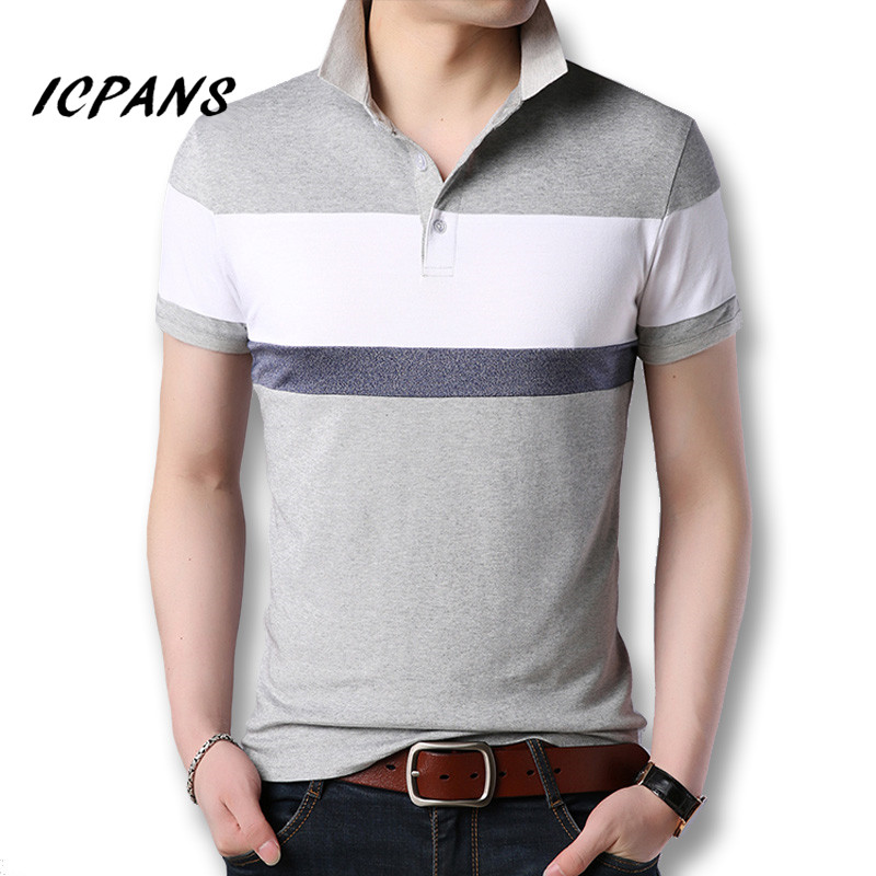 Icpans   Polo   Shirt Men Short Sleeve Summer Top Tees Male Casual Fashion Slim Big Size Patchwork   Polo   Shirts Men Hombre 2018
