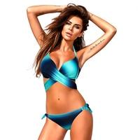 New Sexy Bikinis Women Swimwear Push Up Swimsuit Brazilian Bikini Set Cross Bathing Suit Biquini Gradient