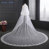 Sapphire Bridal 2018 New Top Quality 2 Tiers Sequin Lace Edge Cathedral Wedding Veil White Ivory Bridal Veil With Blusher