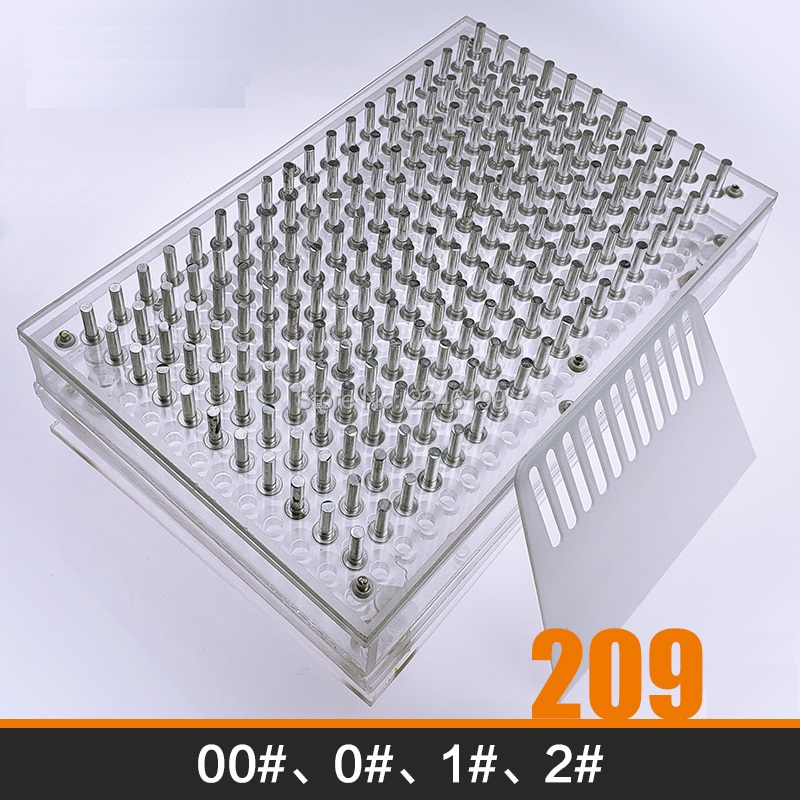 209 Holes Manual Capsule Filling Machine Size 00# 0#1#2# Pharmaceutical Capsule Filler Mold Capsule Powder Refillable Machine 1set 100holes size 0 empty clear capsule filling machine diy arcylic manual capsule filling mold pharmaceutical maker filler
