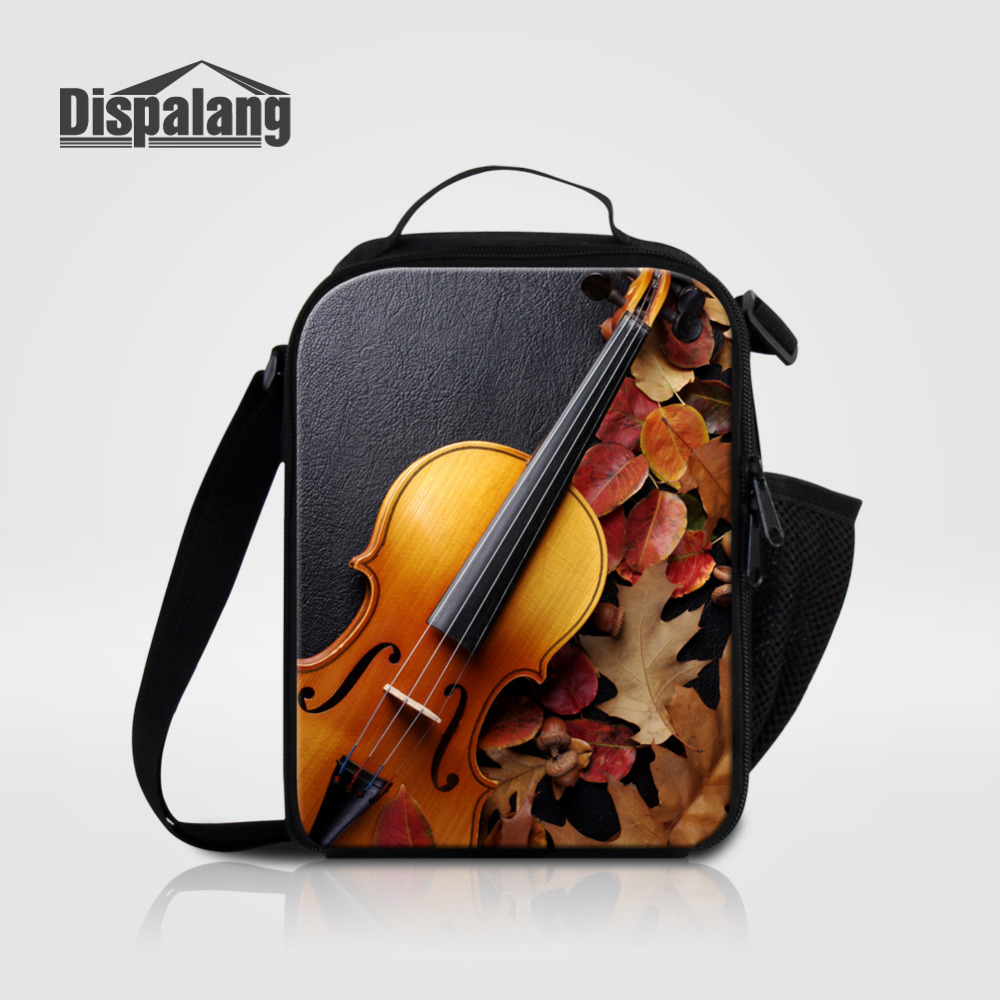 Dispalang Violin Pattern Insulated Lunch Bags For Children Fashion Lunch Box Students Food Container For Kids Picnic Bag