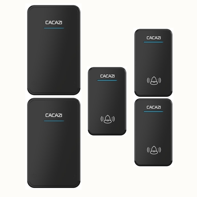 Superior CACAZI 3 Waterproof Buttons+2 Receivers AC 100 220V Wireless Doorbell EU US  UK