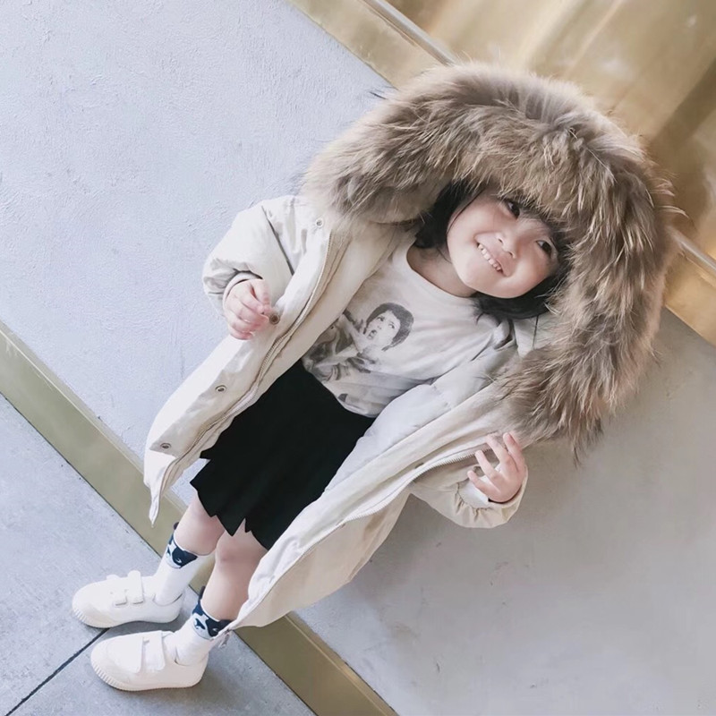 Girls Raccoon Fur Hooded White Down Jackets Kids Thickening Warm Coat -20 Winter Children Clothing Boys 90% White Down Outerwear luxury raccoon fur hooded 90