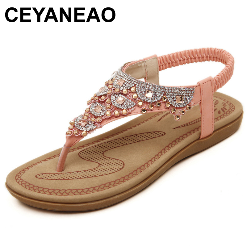 CEYANEAO 2019 Summer New Womens Sandals Ankle Strap Pink White Party Shoes Beach Sandals Bohemia Women Casual Shoes FlatsE1982CEYANEAO 2019 Summer New Womens Sandals Ankle Strap Pink White Party Shoes Beach Sandals Bohemia Women Casual Shoes FlatsE1982